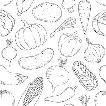 Nahtloses muster mit handgezeichnetem gemüse