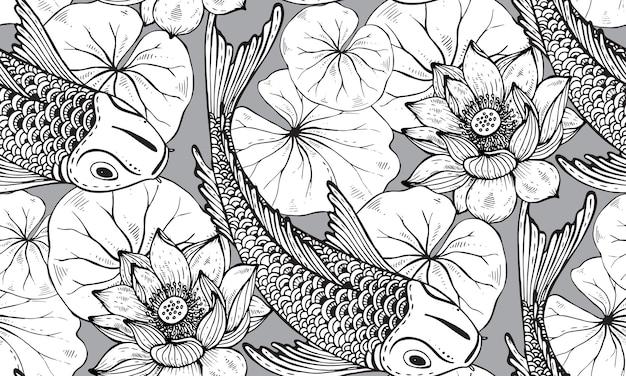 Nahtloses muster mit handgezeichnetem koi-fisch mit lotus