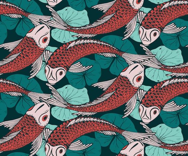 Nahtloses muster mit handgezeichnetem koi-fisch