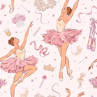Nahtloses muster mit handgezeichneten ballettschulelementen