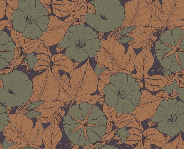 Nahtloses muster mit handgezeichneten bindekrautblumen