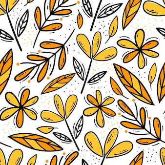Nahtloses muster mit handgezeichneten blumen gelbe blumen auf weißem hintergrund