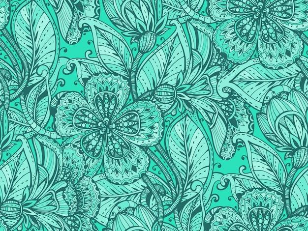 Nahtloses muster mit handgezeichneten farbigen ausgefallenen blumen auf grünem hintergrund