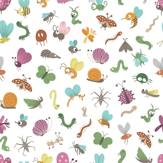 Nahtloses muster mit handgezeichneten flachen lustigen insekten