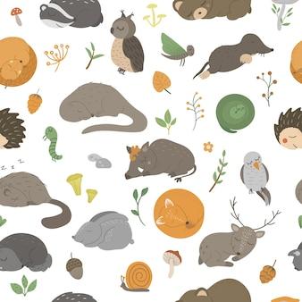 Nahtloses muster mit handgezeichneten flachen lustigen schlafenden tieren.
