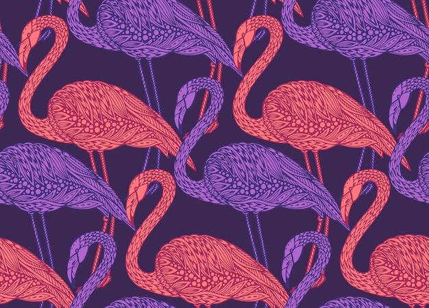 Nahtloses muster mit handgezeichneten flamingovögeln im verzierten ausgefallenen gekritzelstil. endloser hintergrund.