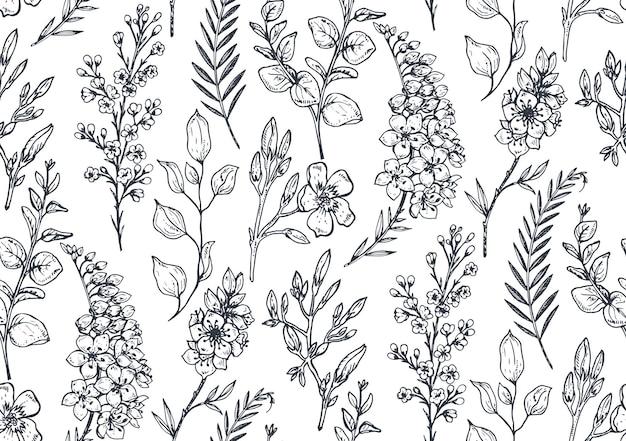 Nahtloses muster mit handgezeichneten frühlingsblumen und -pflanzen im skizzenstil. einfarbig