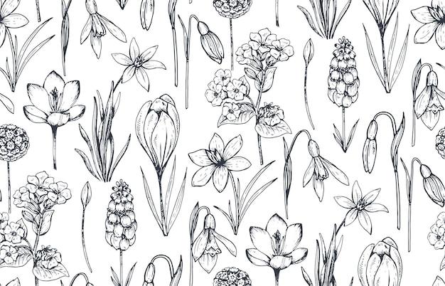 Nahtloses muster mit handgezeichneten frühlingsblumen und -pflanzen im skizzenstil.