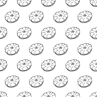 Nahtloses muster mit handgezeichneten gemüseelementen patissons. vegetarische tapete. für designverpackungen, textilien, hintergrund, designpostkarten und poster.