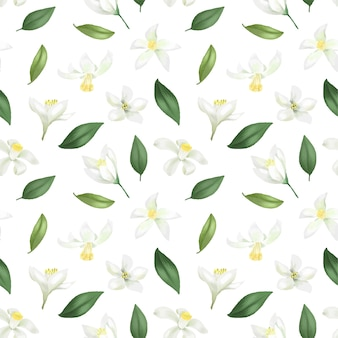 Nahtloses muster mit handgezeichneten grünen blättern und zitronenblumen auf einem weißen hintergrund