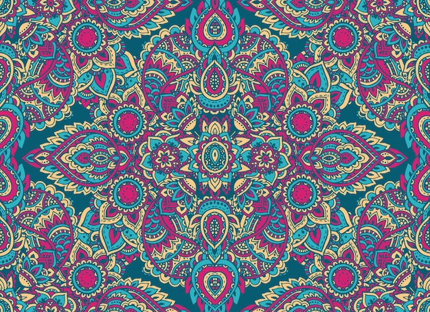 Nahtloses muster mit handgezeichneten henna mehndi blumenelementen. schöner bunter endloser hintergrund im orientalischen indischen stil in den hellen farben
