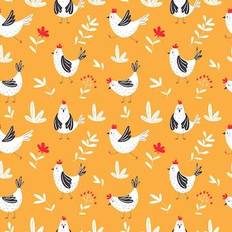 Nahtloses muster mit handgezeichneten hühnern.