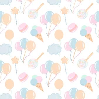 Nahtloses muster mit handgezeichneten süßigkeiten, luftballons und wolken in den pastellfarben