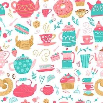 Nahtloses muster mit handgezeichneten teezeitsymbolen