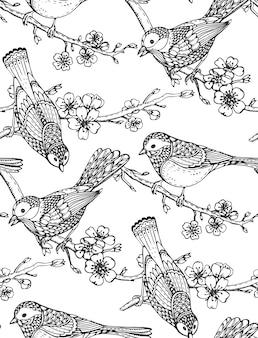 Nahtloses muster mit handgezeichneten verzierten vögeln auf sakura-blumenzweigen.