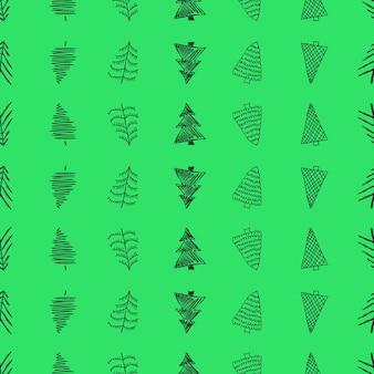 Nahtloses muster mit handgezeichneten weihnachtsbäumen. skizzierte tannen. winterurlaub-doodle-elemente. vektor-illustration