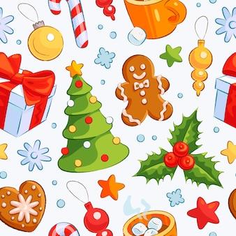 Nahtloses muster mit handgezeichneten weihnachtselementen