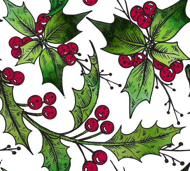 Nahtloses muster mit handgezeichneten winterpflanzen.