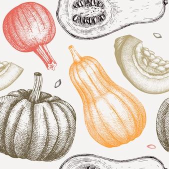 Nahtloses muster mit handgezeichneter kürbis-erntedank-designillustration