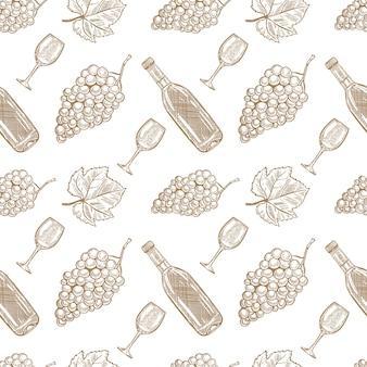 Nahtloses muster mit handgezeichneter weinflasche, weinglas und trauben. element für poster, karte, banner, menü, flyer, paket. illustration