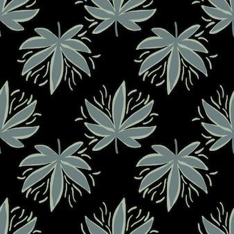 Nahtloses muster mit hanfblättern in dunklen tönen.