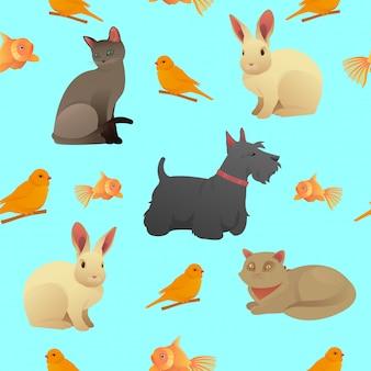 Nahtloses muster mit haustieren - katzen, hund und kaninchen