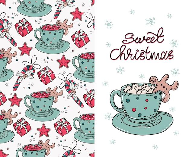 Nahtloses muster mit heißen weihnachtsgetränken und lebkuchenplätzchen.