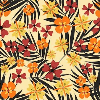Nahtloses muster mit hellen farben und tropischen blättern
