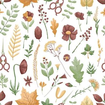 Nahtloses muster mit herbariumblättern und -blumen