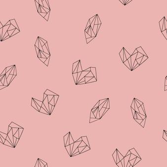 Nahtloses muster mit herz- und diamantformen. vektor-illustration.