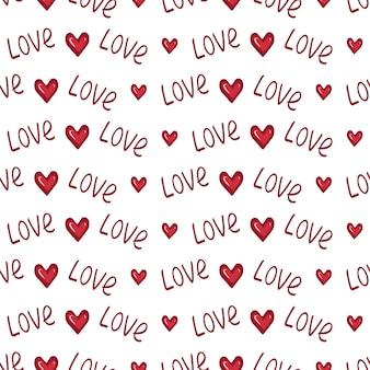 Nahtloses muster mit herzen und dem wort liebe