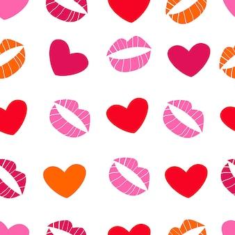 Nahtloses muster mit herzen und küssen zum verpacken von geschenken zum valentinstag