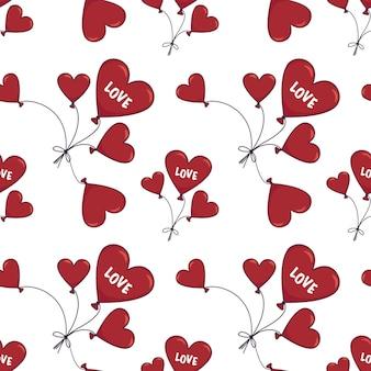 Nahtloses muster mit herzförmigem ballon und dem wort liebe glücklichen valentinstag