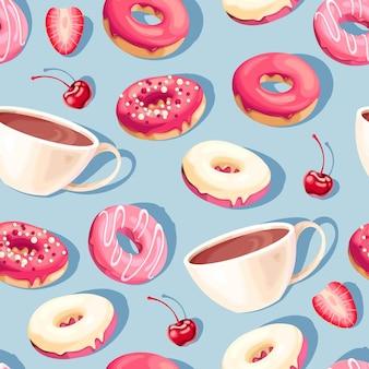 Nahtloses muster mit hochdetaillierten glasierten donuts und kaffeetassen auf blauem hintergrund