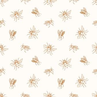 Nahtloses muster mit honigbienen gezeichnet mit konturlinien auf beige