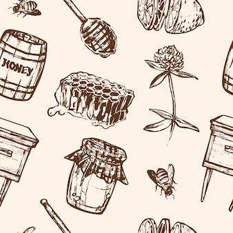 Nahtloses muster mit honigelementen