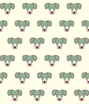 Nahtloses muster mit hund. netter jack russell terrier kopf
