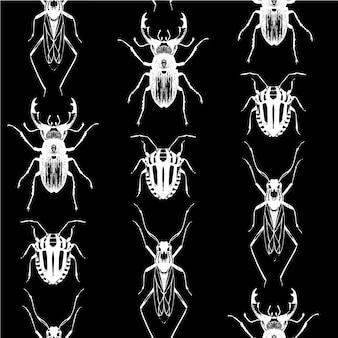 Nahtloses muster mit insekten auf schwarz.