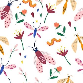 Nahtloses muster mit insekten und wildblumen schmetterlinge libellen blumen würmer