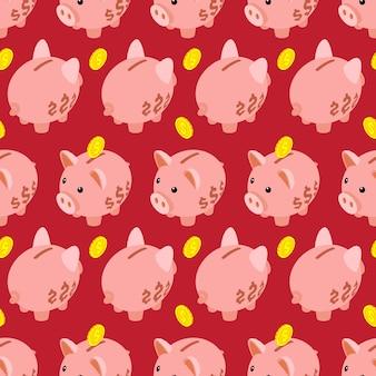 Nahtloses muster mit isometrischem sparschwein