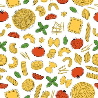 Nahtloses muster mit italienischer pasta für menüverpackungen geschenkpapier oder stoff