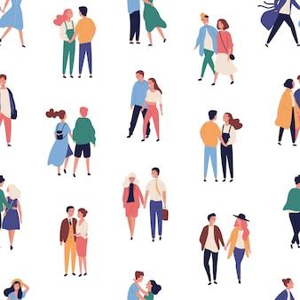 Nahtloses muster mit jungen paaren auf romantischem date, mit männern und frauen in der liebe, die hände halten und zusammen gehen