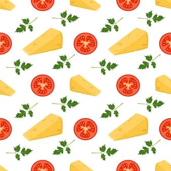 Nahtloses muster mit käse, tomaten und petersilie.