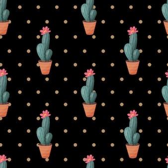 Nahtloses muster mit kaktus auf dunklem hintergrund