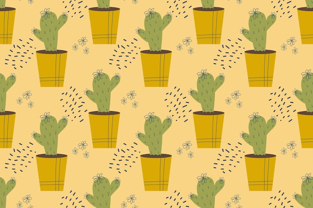 Nahtloses muster mit kaktus kaktus in einer topfpflanze mit dornennadeln und blumen