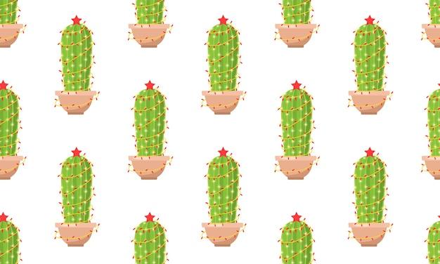 Nahtloses muster mit kaktus mit neujahrsgirlande.