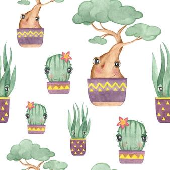 Nahtloses muster mit kaktus- und bonsai-baum auf weißem hintergrund