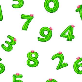 Nahtloses muster mit kaktusnummern für ui-spiel, schule. vektorillustrations-struktureller hintergrundkind mit zahlen mit einer blume.