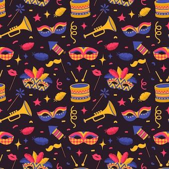 Nahtloses muster mit karnevalssymbolen, flacher stil auf dunklem hintergrund, venezianische karnevalselemente