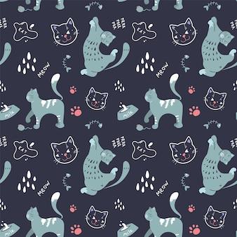 Nahtloses muster mit katzen in verschiedenen posen auf dunklem hintergrund im skandinavischen stil. vektorgrafiken.